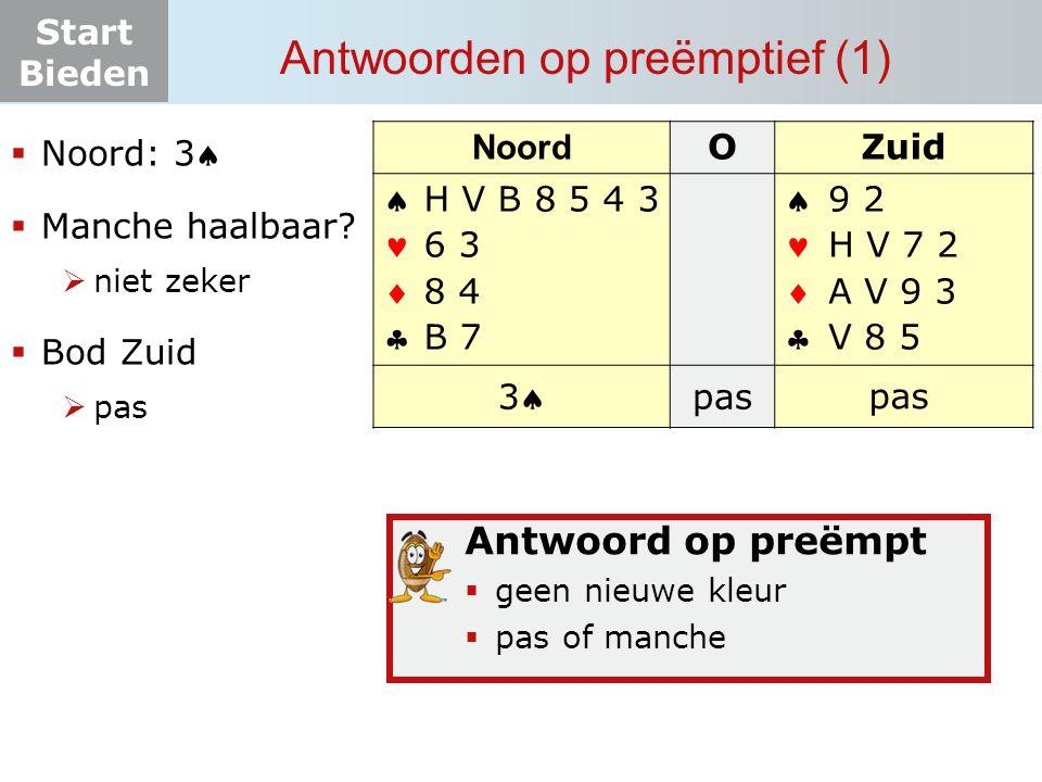 Start Bieden Antwoorden op preëmptief (1) Noord OZuid       33 pas? 9 2 H V 7 2 A V 9 3 V 8 5 pas H V B 8 5 4 3 6 3 8 4 B 7  Noord: 3  Manc