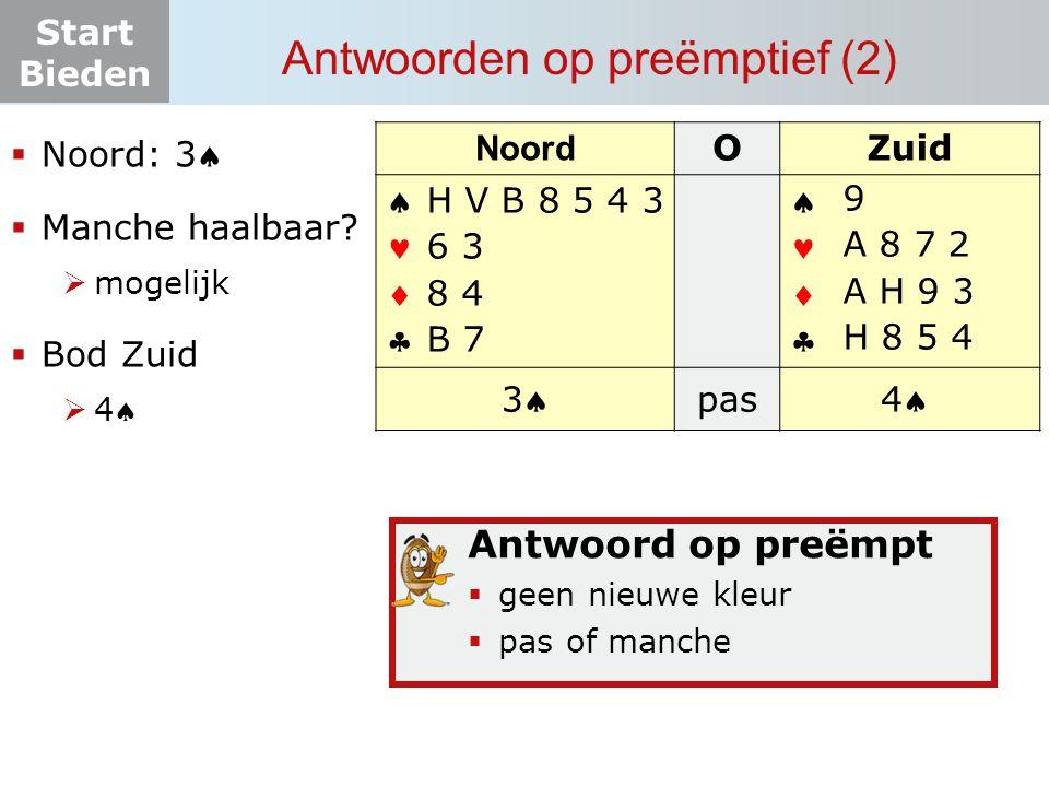 Start Bieden Antwoorden op preëmptief (2) Noord OZuid       33 pas? 44 H V B 8 5 4 3 6 3 8 4 B 7  Noord: 3  Manche haalbaar?  mogelijk 