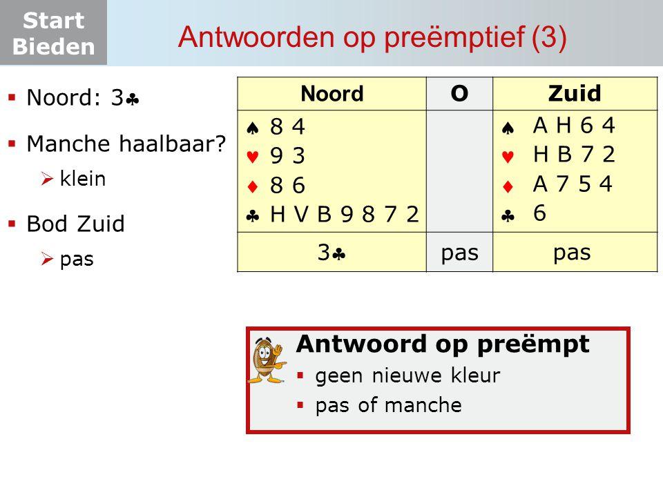 Start Bieden Antwoorden op preëmptief (3) Noord OZuid       33 pas? 8 4 9 3 8 6 H V B 9 8 7 2  Noord: 3  Manche haalbaar?  klein  Bod Zui