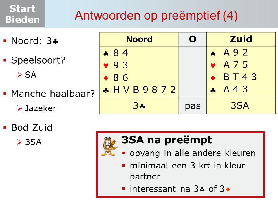 Start Bieden Antwoorden op preëmptief (4) Noord OZuid       33 pas? 3SA 8 4 9 3 8 6 H V B 9 8 7 2  Noord: 3  Speelsoort?  SA  Manche haal