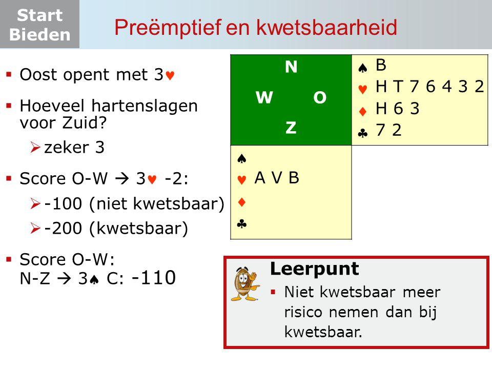 Start Bieden  Oost opent met 3  Hoeveel hartenslagen voor Zuid?  zeker 3  Score O-W  3 -2:  -100 (niet kwetsbaar)  -200 (kwetsbaar)  Score O-W