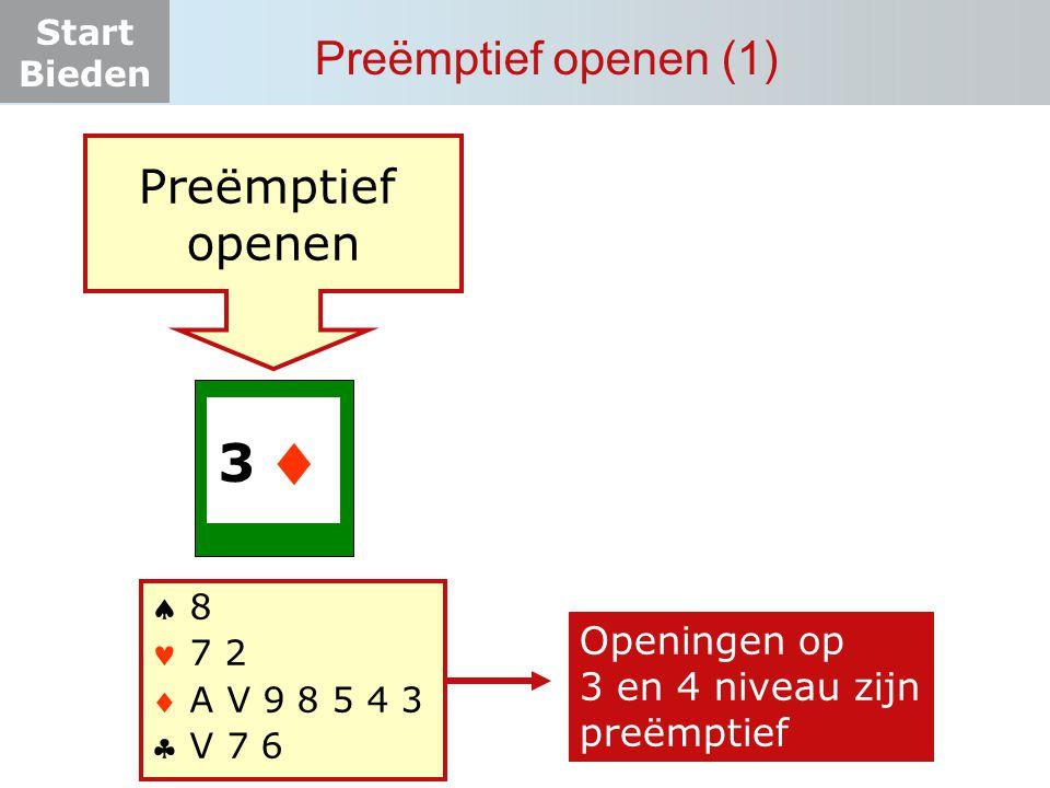 Start Bieden Preëmptief openen (1) 3…. Preëmptief openen  8 7 2  A V 9 8 5 4 3  V 7 6  Openingen op 3 en 4 niveau zijn preëmptief