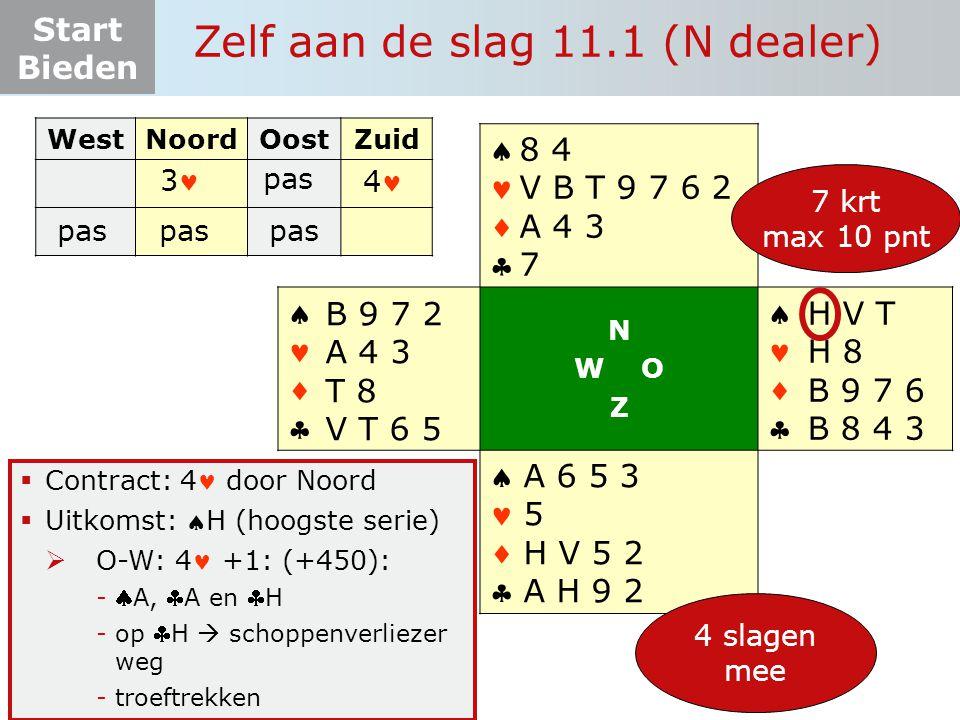 Start Bieden Zelf aan de slag 11.1 (N dealer)  Contract: 4 door Noord  Uitkomst: H (hoogste serie)  O-W: 4 +1: (+450): -A, A en H -op H  schoppenverliezer weg -troeftrekken WestNoordOostZuid 3 pas       N W O Z       7 krt max 10 pnt H V T H 8 B 9 7 6 B 8 4 3 8 4 V B T 9 7 6 2 A 4 3 7 A 6 5 3 5 H V 5 2 A H 9 2 B 9 7 2 A 4 3 T 8 V T 6 5 4 slagen mee 4 pas
