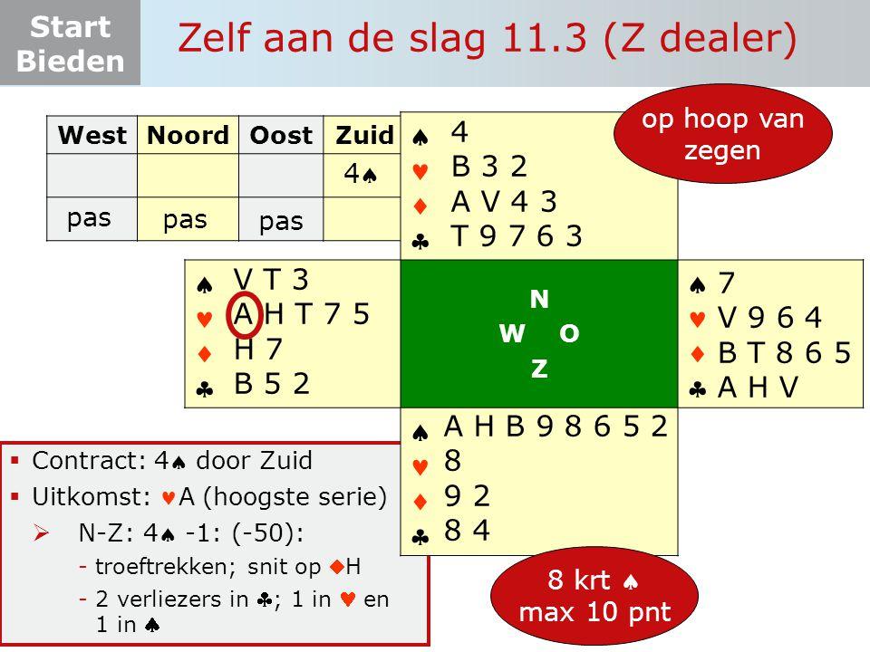 Start Bieden Zelf aan de slag 11.3 (Z dealer)  Contract: 4 door Zuid  Uitkomst: A (hoogste serie)  N-Z: 4 -1: (-50): -troeftrekken; snit op H -2