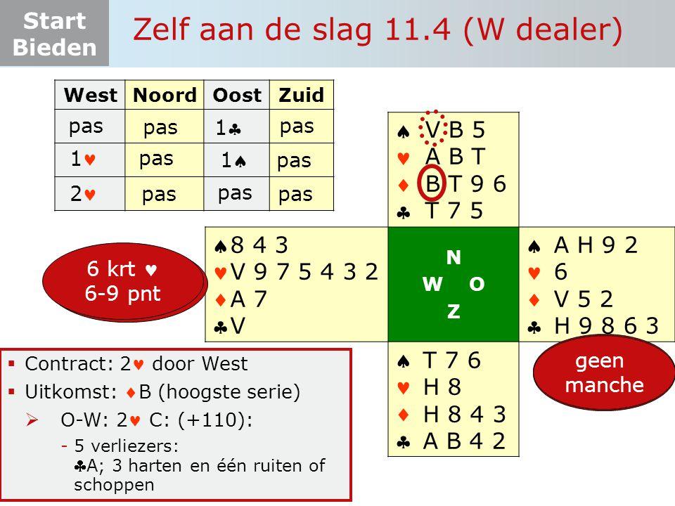 Start Bieden Zelf aan de slag 11.4 (W dealer)  Contract: 2 door West  Uitkomst: B (hoogste serie)  O-W: 2 C: (+110): -5 verliezers: A; 3 harten en één ruiten of schoppen WestNoordOostZuid pas       N W O Z       4+ krt 6-12 pnt A H 9 2 6 V 5 2 H 9 8 6 3 T 7 6 H 8 H 8 4 3 A B 4 2 8 4 3 V 9 7 5 4 3 2 A 7 V 4+krt  12-19 pnt V B 5 A B T B T 9 6 T 7 5 11 pas 1 11 4 krt  12-17pnt 2 pas geen manche 6 krt 6-9 pnt