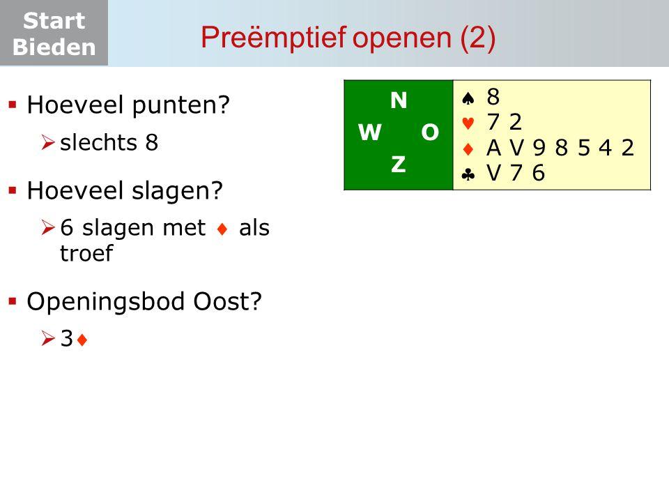 Start Bieden  Hoeveel punten?  slechts 8  Hoeveel slagen?  6 slagen met  als troef  Openingsbod Oost? 33 N W O Z    8 7 2 A V 9 8 5 4 2 V