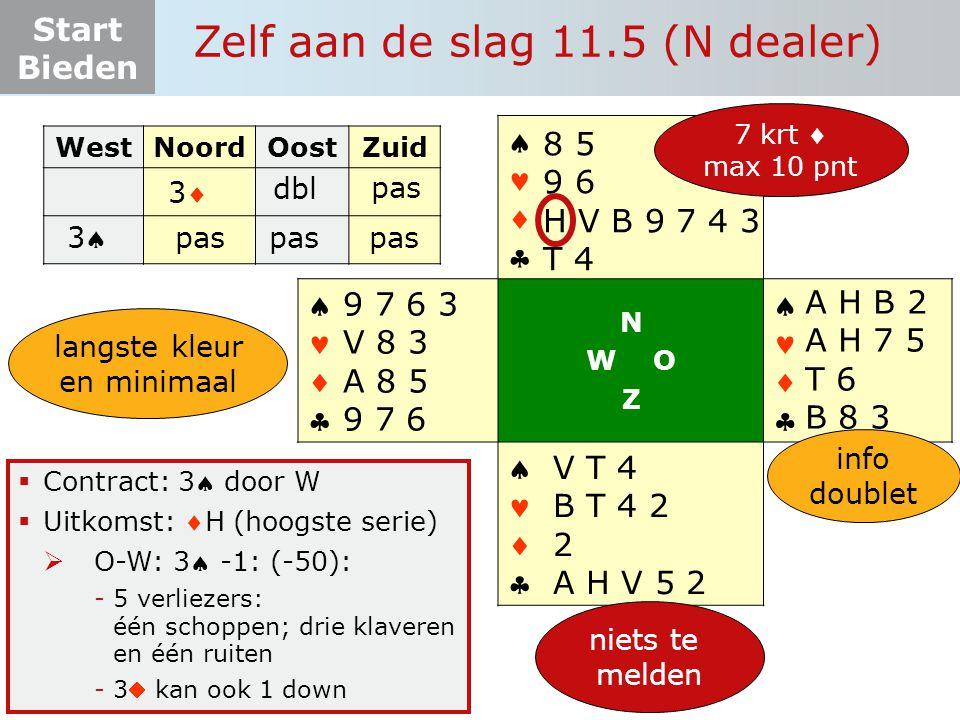 Start Bieden Zelf aan de slag 11.5 (N dealer)  Contract: 3 door W  Uitkomst: H (hoogste serie)  O-W: 3 -1: (-50): -5 verliezers: één schoppen; drie klaveren en één ruiten -3 kan ook 1 down WestNoordOostZuid 33 dbl 33       N W O Z       A H B 2 A H 7 5 T 6 B 8 3 8 5 9 6 H V B 9 7 4 3 T 4 V T 4 B T 4 2 2 A H V 5 2 9 7 6 3 V 8 3 A 8 5 9 7 6 pas niets te melden 7 krt  max 10 pnt info doublet langste kleur en minimaal