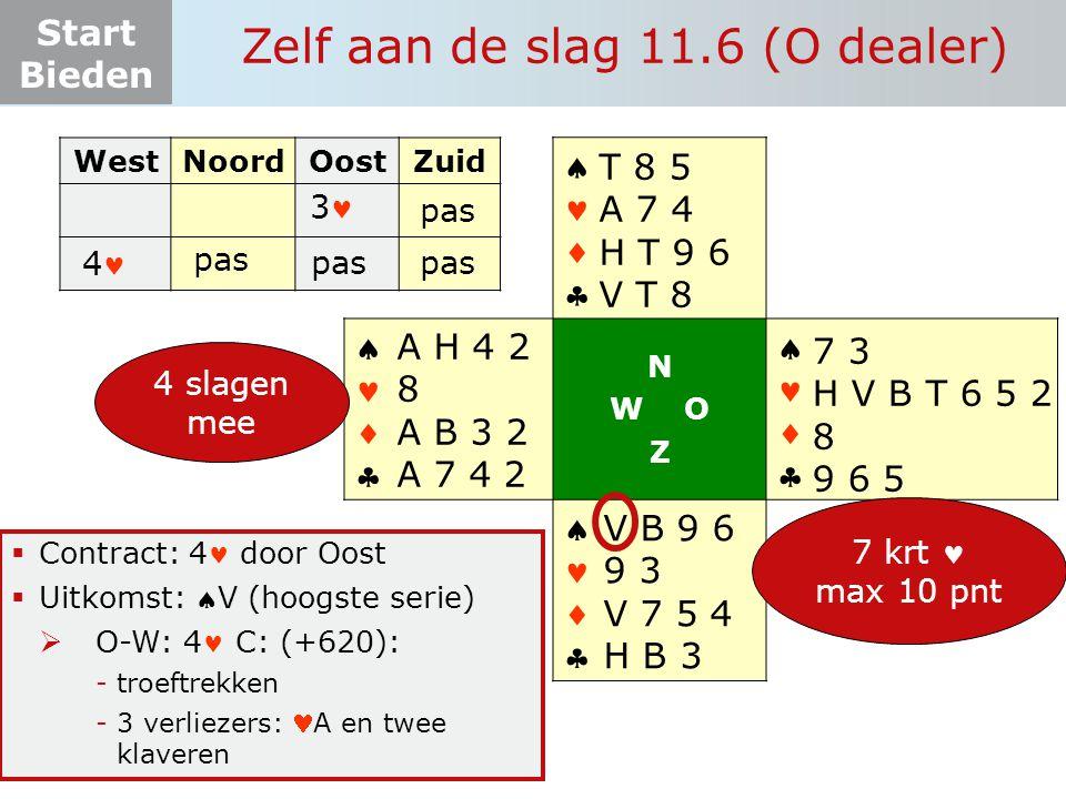Start Bieden Zelf aan de slag 11.6 (O dealer)  Contract: 4 door Oost  Uitkomst: V (hoogste serie)  O-W: 4 C: (+620): -troeftrekken -3 verliezers: A en twee klaveren WestNoordOostZuid 3 4       N W O Z       4 slagen mee 7 3 H V B T 6 5 2 8 9 6 5 V B 9 6 9 3 V 7 5 4 H B 3 A H 4 2 8 A B 3 2 A 7 4 2 pas T 8 5 A 7 4 H T 9 6 V T 8 pas 7 krt max 10 pnt
