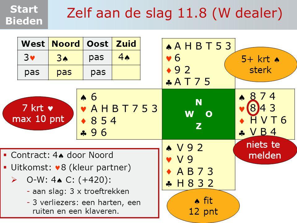 Start Bieden Zelf aan de slag 11.8 (W dealer) WestNoordOostZuid 3       N W O Z       8 7 4 8 4 3 H V T 6 V B 4 V 9 2 V 9 A B 7 3 H 8 3 2 6 A H B T 7 5 3 8 5 4 9 6 A H B T 5 3 6 9 2 A T 7 5 pas 33 44 niets te melden 7 krt max 10 pnt 5+ krt  sterk  fit 12 pnt  Contract: 4 door Noord  Uitkomst: 8 (kleur partner)  O-W: 4 C: (+420): -aan slag: 3 x troeftrekken -3 verliezers: een harten, een ruiten en een klaveren.