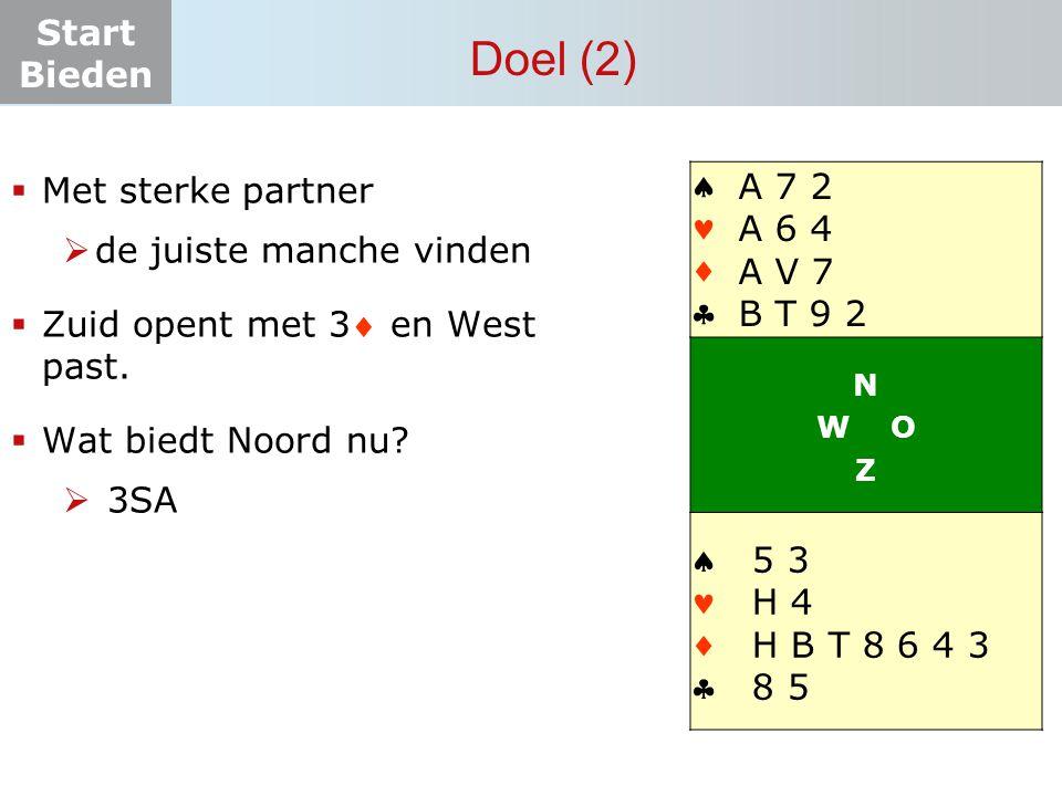Start Bieden Doel (2)  Met sterke partner  de juiste manche vinden  Zuid opent met 3 en West past.  Wat biedt Noord nu?  3SA    N W O Z   