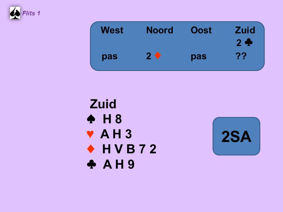 Flits 1 Zuid ♠ H 8 ♥ A H 3 ♦ H V B 7 2 ♣ A H 9 WestNoordOostZuid 2 ♣ pas2 ♦ pas?? 2SA