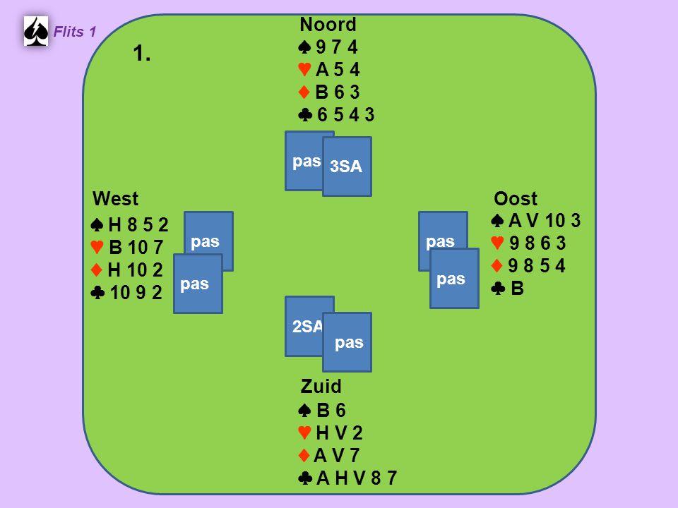 Zuid ♠ B 6 ♥ H V 2 ♦ A V 7 ♣ A H V 8 7 West ♠ H 8 5 2 ♥ B 10 7 ♦ H 10 2 ♣ 10 9 2 Noord ♠ 9 7 4 ♥ A 5 4 ♦ B 6 3 ♣ 6 5 4 3 Oost ♠ A V 10 3 ♥ 9 8 6 3 ♦ 9