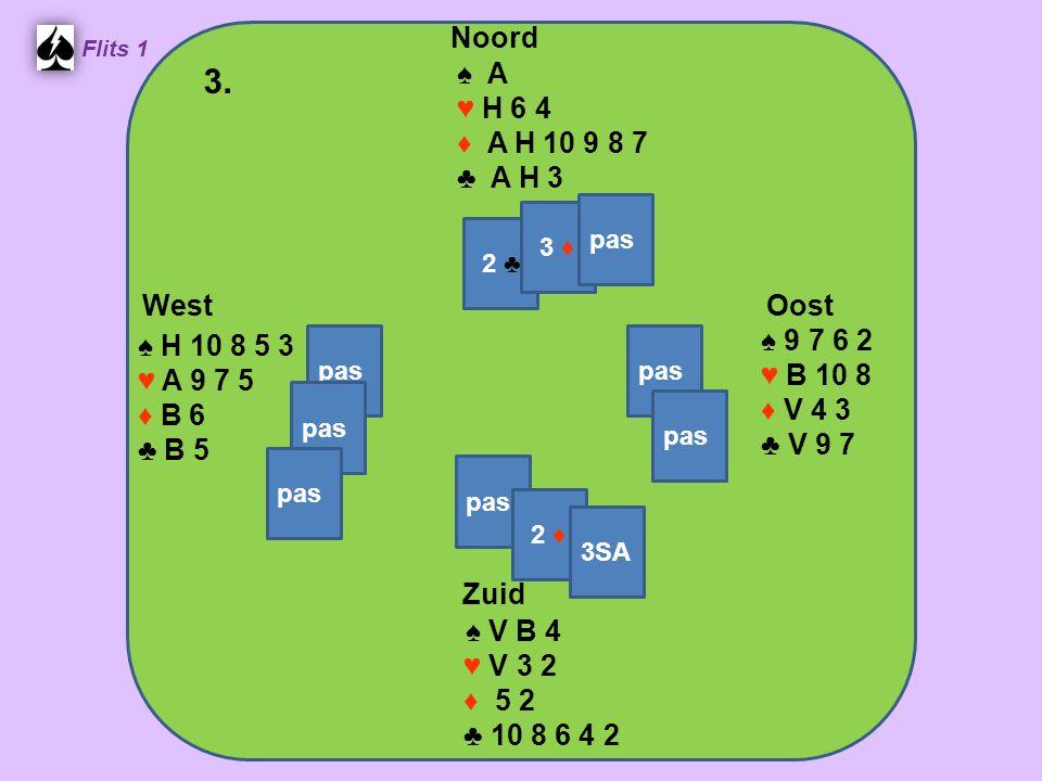 Zuid ♠ V B 4 ♥ V 3 2 ♦ 5 2 ♣ 10 8 6 4 2 West ♠ H 10 8 5 3 ♥ A 9 7 5 ♦ B 6 ♣ B 5 Noord ♠ A ♥ H 6 4 ♦ A H 10 9 8 7 ♣ A H 3 Oost ♠ 9 7 6 2 ♥ B 10 8 ♦ V 4