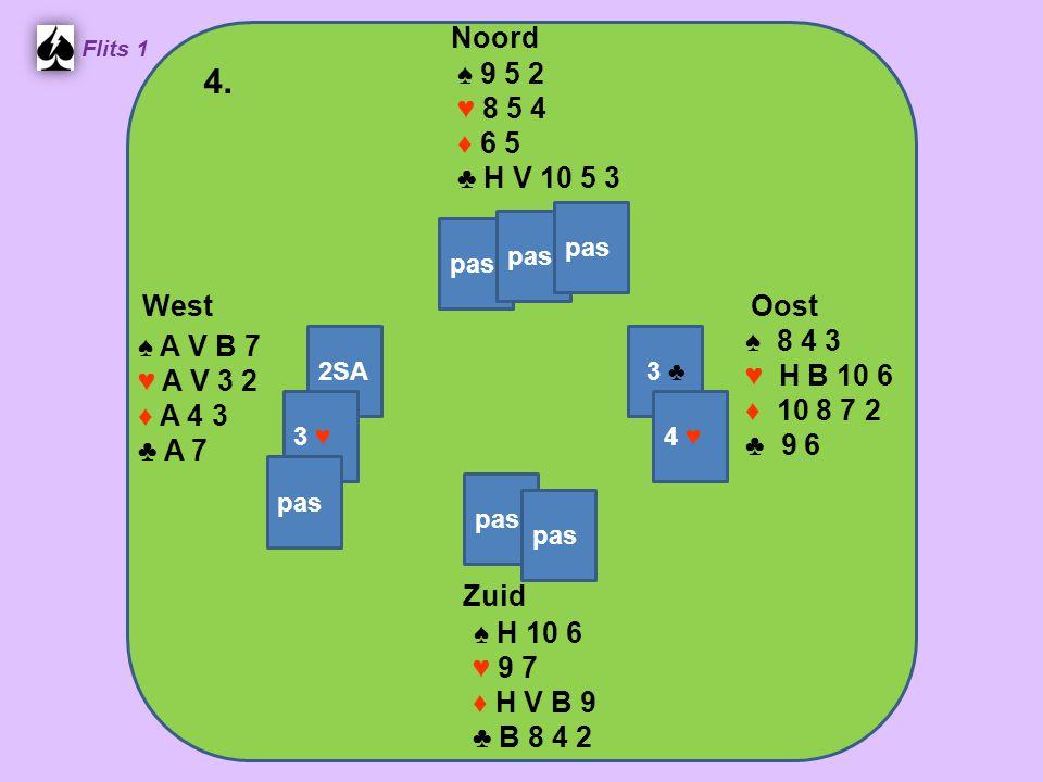 Zuid ♠ H 10 6 ♥ 9 7 ♦ H V B 9 ♣ B 8 4 2 West ♠ A V B 7 ♥ A V 3 2 ♦ A 4 3 ♣ A 7 Noord ♠ 9 5 2 ♥ 8 5 4 ♦ 6 5 ♣ H V 10 5 3 Oost ♠ 8 4 3 ♥ H B 10 6 ♦ 10 8