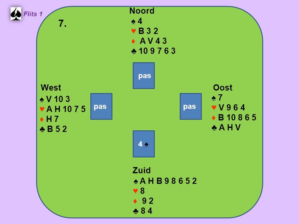 Zuid ♠ A H B 9 8 6 5 2 ♥ 8 ♦ 9 2 ♣ 8 4 West ♠ V 10 3 ♥ A H 10 7 5 ♦ H 7 ♣ B 5 2 Noord ♠ 4 ♥ B 3 2 ♦ A V 4 3 ♣ 10 9 7 6 3 Oost ♠ 7 ♥ V 9 6 4 ♦ B 10 8 6