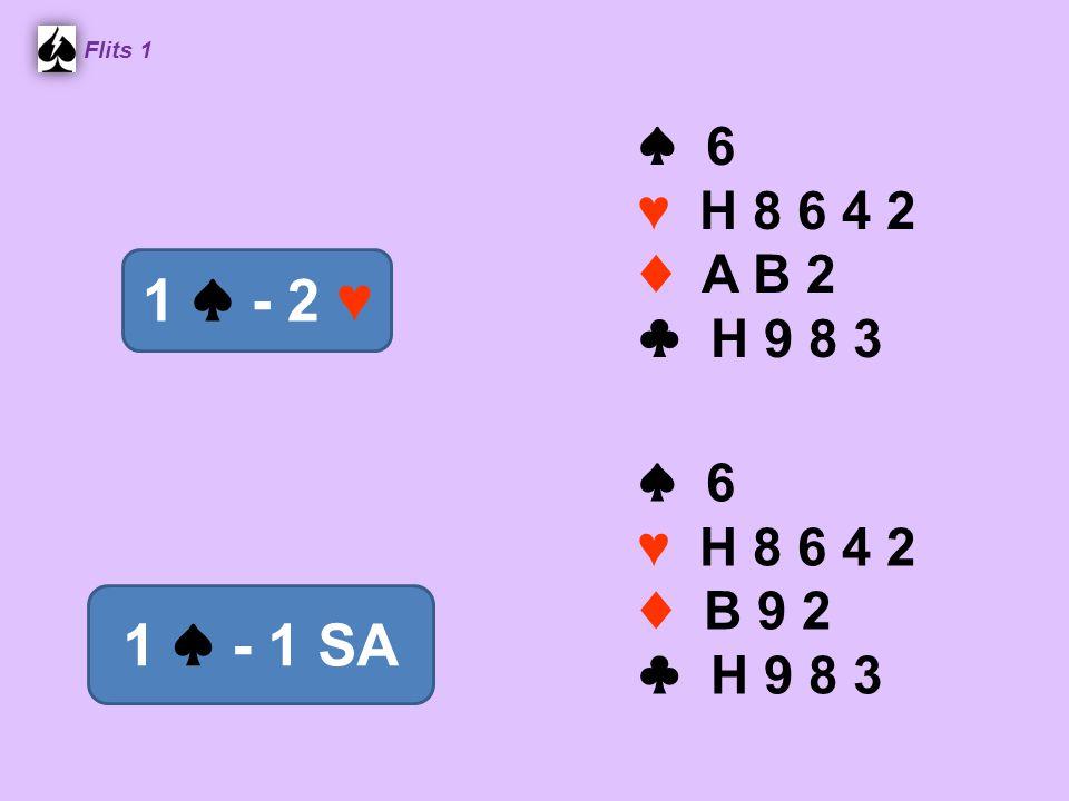 ♠ 6 ♥ H 8 6 4 2 ♦ B 9 2 ♣ H 9 8 3 Flits 1 1 ♠ - 1 SA ♠ 6 ♥ H 8 6 4 2 ♦ A B 2 ♣ H 9 8 3 1 ♠ - 2 ♥