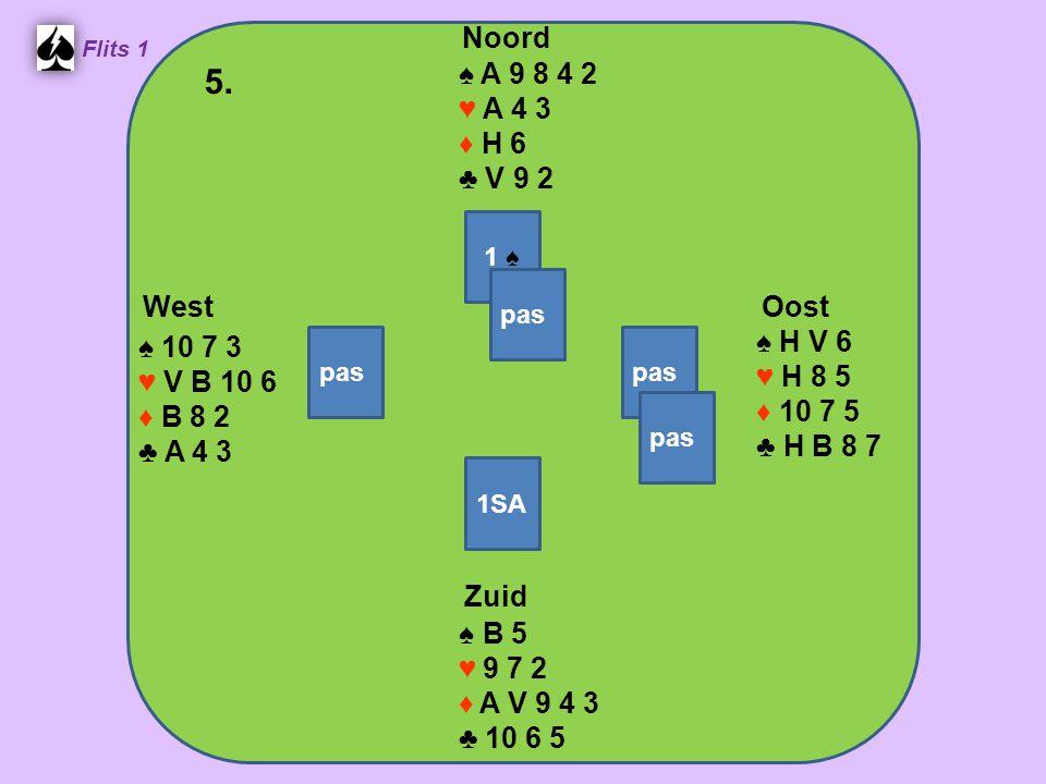 Zuid ♠ B 5 ♥ 9 7 2 ♦ A V 9 4 3 ♣ 10 6 5 West ♠ 10 7 3 ♥ V B 10 6 ♦ B 8 2 ♣ A 4 3 Noord ♠ A 9 8 4 2 ♥ A 4 3 ♦ H 6 ♣ V 9 2 Oost ♠ H V 6 ♥ H 8 5 ♦ 10 7 5 ♣ H B 8 7 5.
