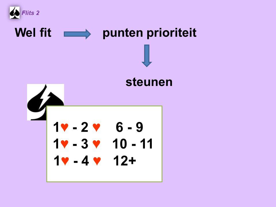 1 ♥ - 2 ♥ 6 - 9 1 ♥ - 3 ♥ 10 - 11 1 ♥ - 4 ♥ 12+ Flits 2 Wel fit punten prioriteit steunen