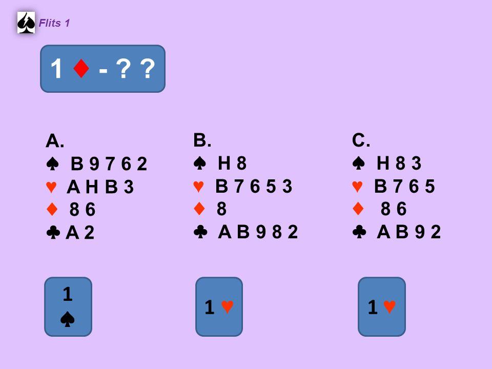 ♠ H B 8 7 2 ♥ A 6 5 4 ♦ 7 6 ♣ 8 4 Flits 1 1 ♣ - ? ? 1 ♠