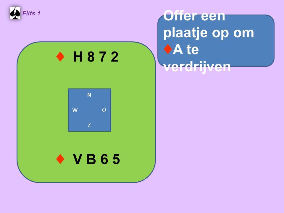 ♦ H 8 7 2 Flits 1 Offer een plaatje op om ♦ A te verdrijven ♦ V B 6 5 N W O Z