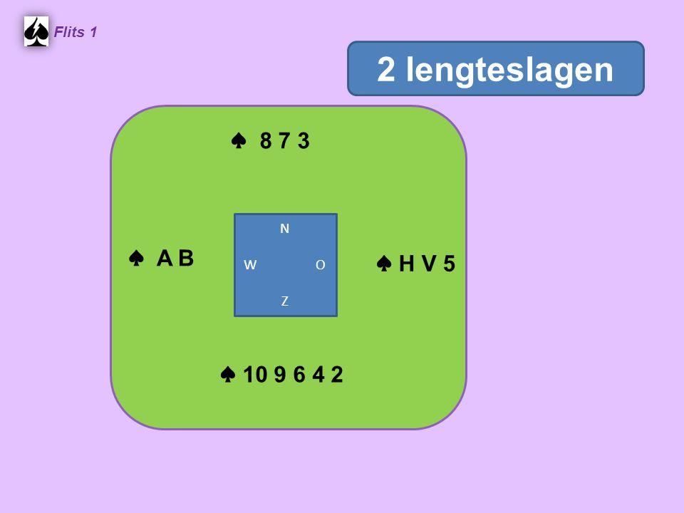 ♠ 8 7 3 Flits 1 ♠ 10 9 6 4 2 N W O Z 2 lengteslagen ♠ A B ♠ H V 5