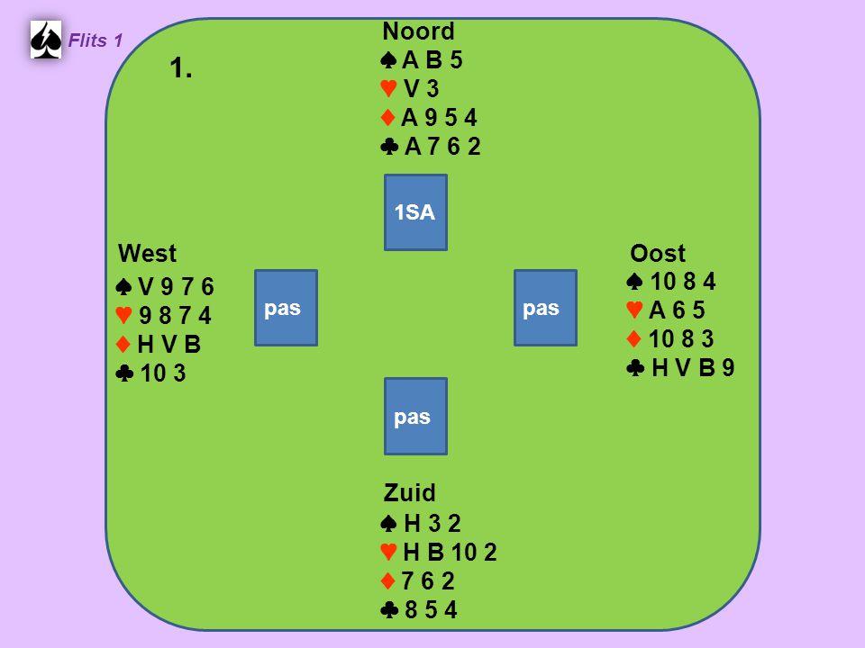 Zuid ♠ H 3 2 ♥ H B 10 2 ♦ 7 6 2 ♣ 8 5 4 West ♠ V 9 7 6 ♥ 9 8 7 4 ♦ H V B ♣ 10 3 Noord ♠ A B 5 ♥ V 3 ♦ A 9 5 4 ♣ A 7 6 2 Oost ♠ 10 8 4 ♥ A 6 5 ♦ 10 8 3