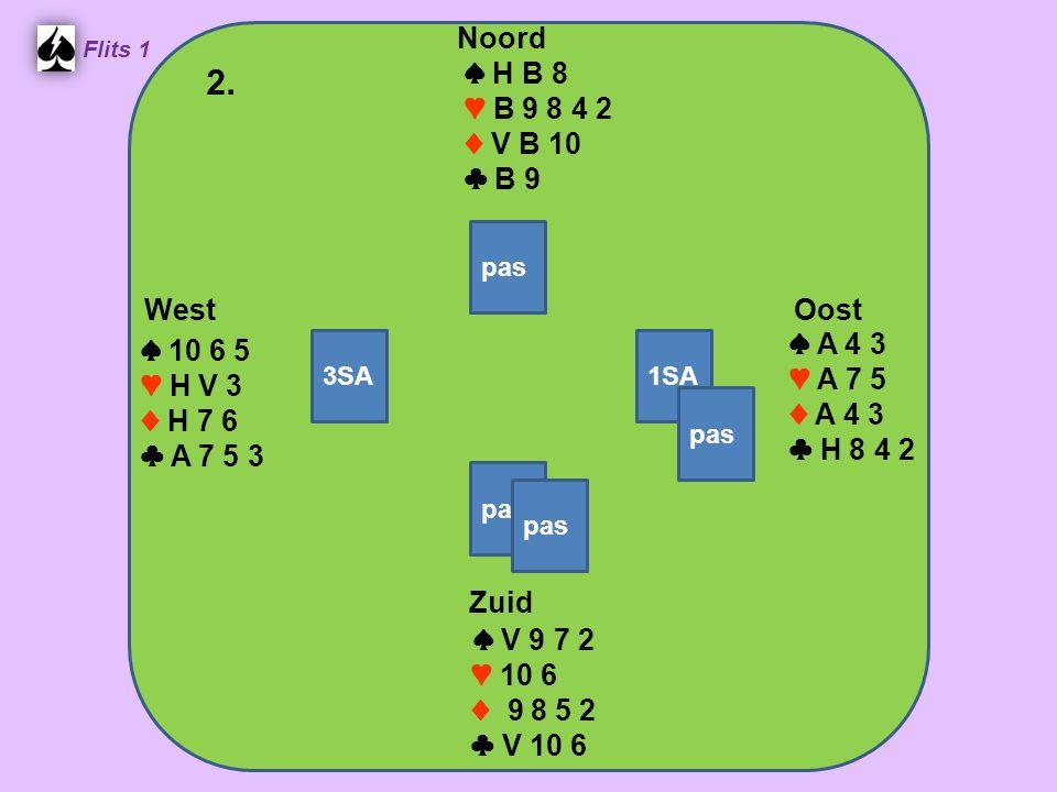 Zuid ♠ V 9 7 2 ♥ 10 6 ♦ 9 8 5 2 ♣ V 10 6 West ♠ 10 6 5 ♥ H V 3 ♦ H 7 6 ♣ A 7 5 3 Noord ♠ H B 8 ♥ B 9 8 4 2 ♦ V B 10 ♣ B 9 Oost ♠ A 4 3 ♥ A 7 5 ♦ A 4 3