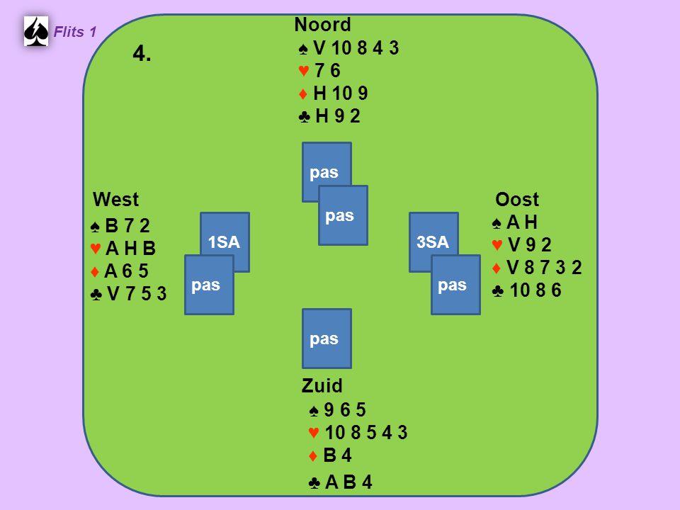Zuid ♠ 9 6 5 ♥ 10 8 5 4 3 ♦ B 4 ♣ A B 4 West ♠ B 7 2 ♥ A H B ♦ A 6 5 ♣ V 7 5 3 Noord ♠ V 10 8 4 3 ♥ 7 6 ♦ H 10 9 ♣ H 9 2 Oost ♠ A H ♥ V 9 2 ♦ V 8 7 3