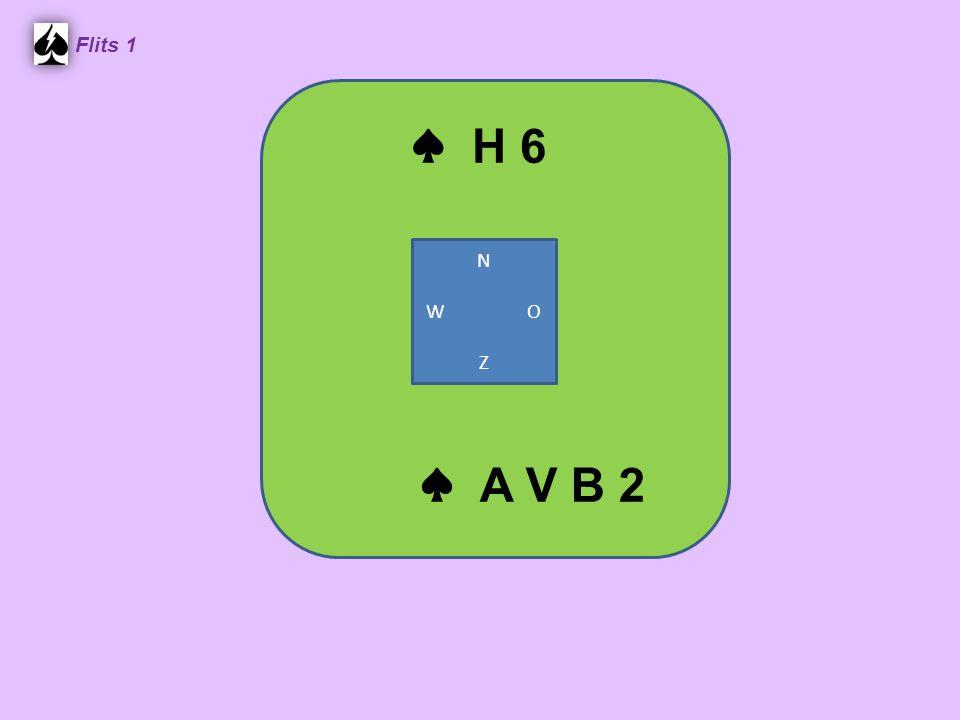 Zuid ♠ 9 6 5 ♥ 10 8 5 4 3 ♦ B 4 ♣ A B 4 West ♠ B 7 2 ♥ A H B ♦ A 6 5 ♣ V 7 5 3 Noord ♠ V 10 8 4 3 ♥ 7 6 ♦ H 10 9 ♣ H 9 2 Oost ♠ A H ♥ V 9 2 ♦ V 8 7 3 2 ♣ 10 8 6 4.
