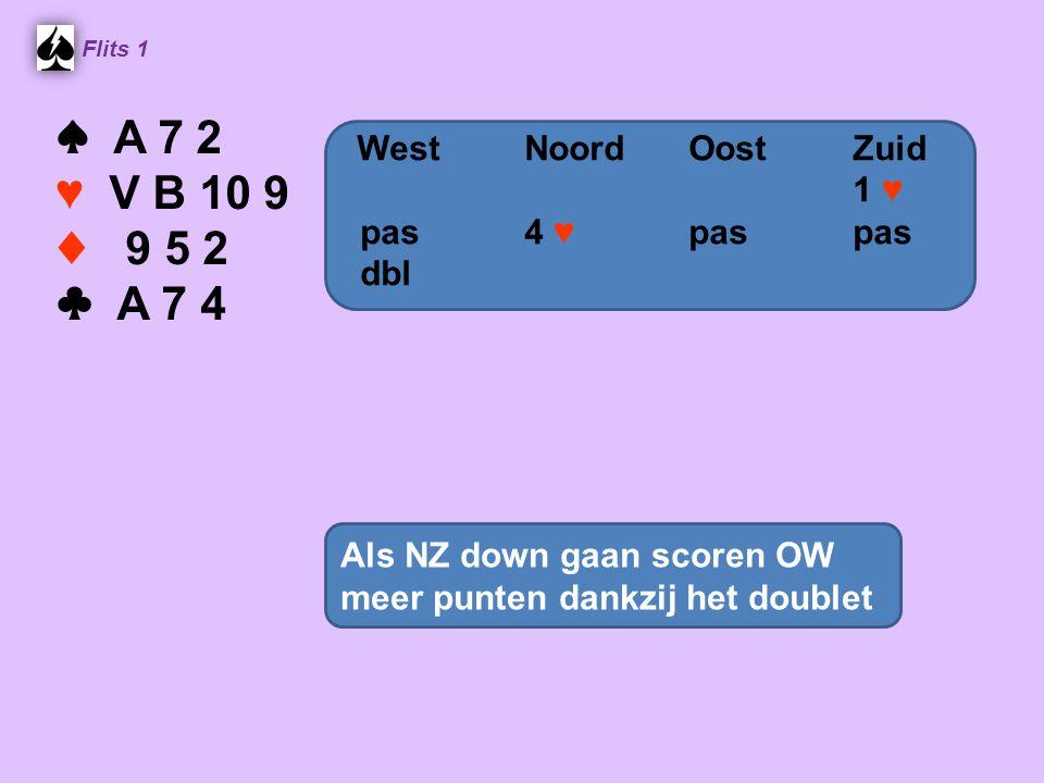 Flits 1 ♠ A 7 2 ♥ V B 10 9 ♦ 9 5 2 ♣ A 7 4 Als NZ down gaan scoren OW meer punten dankzij het doublet WestNoordOostZuid 1 ♥ pas 4 ♥ paspas dbl