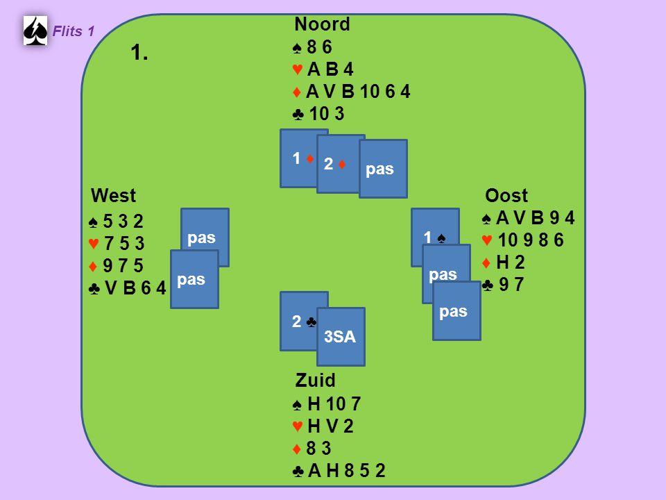 Zuid ♠ H 10 7 ♥ H V 2 ♦ 8 3 ♣ A H 8 5 2 West ♠ 5 3 2 ♥ 7 5 3 ♦ 9 7 5 ♣ V B 6 4 Noord ♠ 8 6 ♥ A B 4 ♦ A V B 10 6 4 ♣ 10 3 Oost ♠ A V B 9 4 ♥ 10 9 8 6 ♦