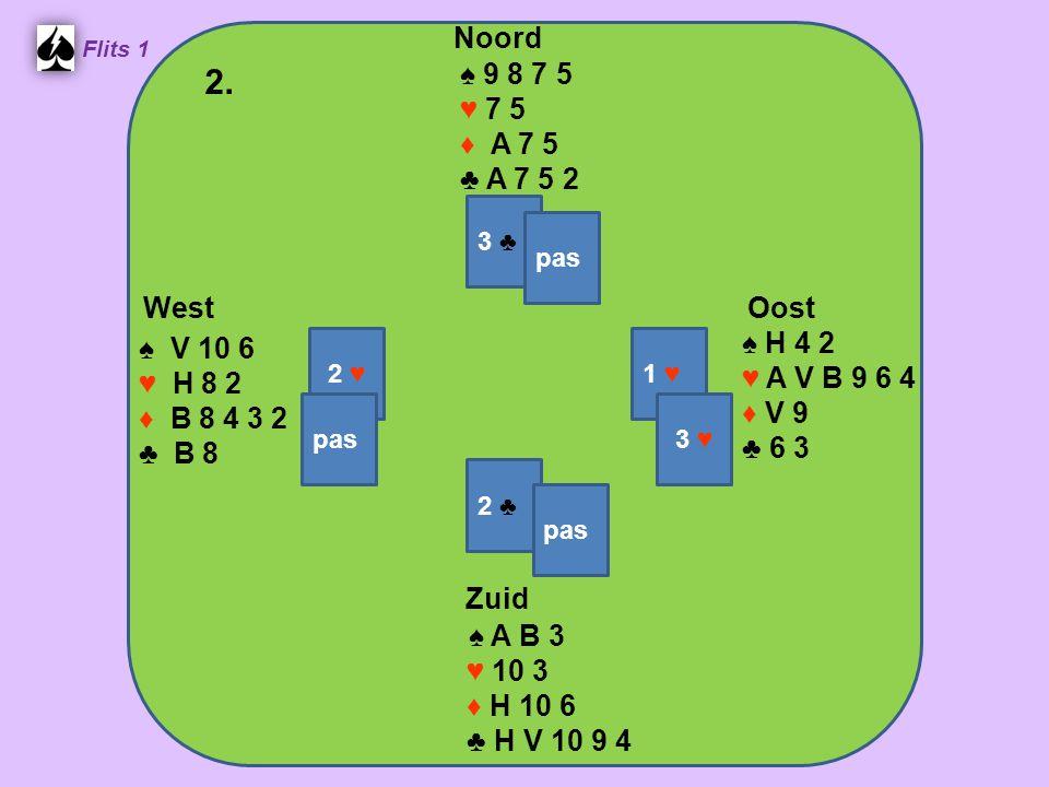 Zuid ♠ A B 3 ♥ 10 3 ♦ H 10 6 ♣ H V 10 9 4 West ♠ V 10 6 ♥ H 8 2 ♦ B 8 4 3 2 ♣ B 8 Noord ♠ 9 8 7 5 ♥ 7 5 ♦ A 7 5 ♣ A 7 5 2 Oost ♠ H 4 2 ♥ A V B 9 6 4 ♦