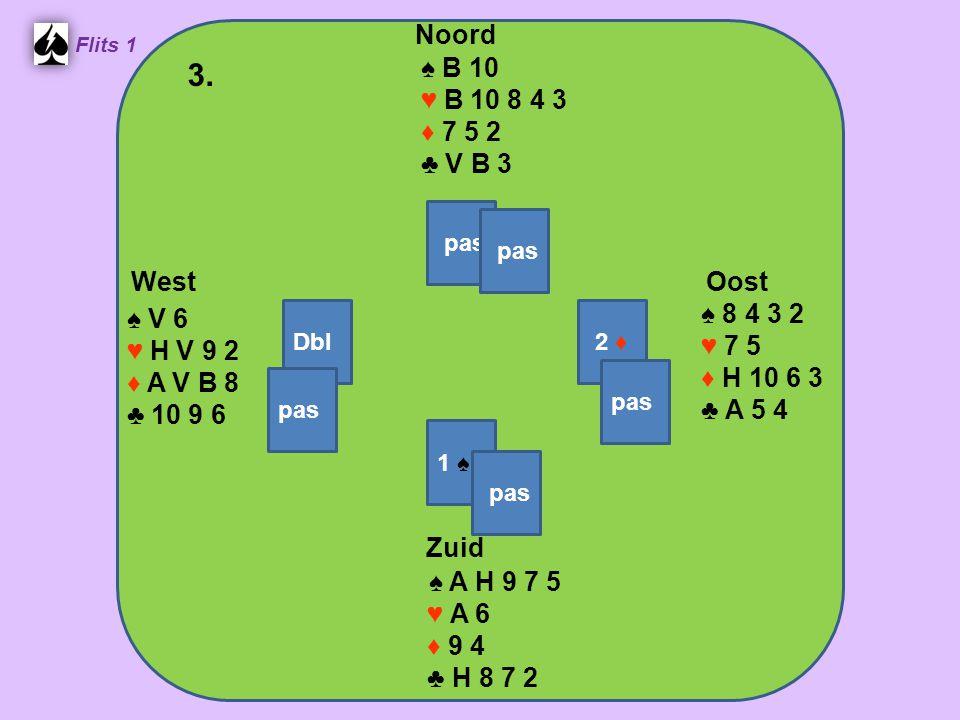 Zuid ♠ A H 9 7 5 ♥ A 6 ♦ 9 4 ♣ H 8 7 2 West ♠ V 6 ♥ H V 9 2 ♦ A V B 8 ♣ 10 9 6 Noord ♠ B 10 ♥ B 10 8 4 3 ♦ 7 5 2 ♣ V B 3 Oost ♠ 8 4 3 2 ♥ 7 5 ♦ H 10 6