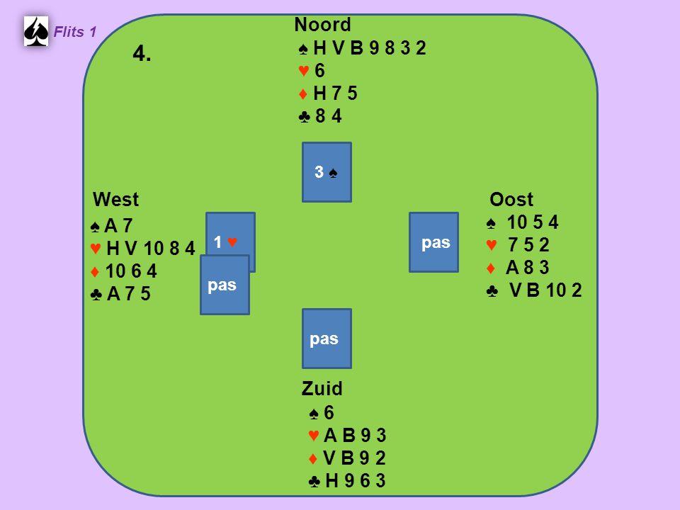 Zuid ♠ 6 ♥ A B 9 3 ♦ V B 9 2 ♣ H 9 6 3 West ♠ A 7 ♥ H V 10 8 4 ♦ 10 6 4 ♣ A 7 5 Noord ♠ H V B 9 8 3 2 ♥ 6 ♦ H 7 5 ♣ 8 4 Oost ♠ 10 5 4 ♥ 7 5 2 ♦ A 8 3