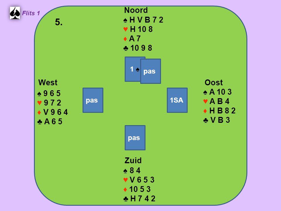 Zuid ♠ 8 4 ♥ V 6 5 3 ♦ 10 5 3 ♣ H 7 4 2 West ♠ 9 6 5 ♥ 9 7 2 ♦ V 9 6 4 ♣ A 6 5 Noord ♠ H V B 7 2 ♥ H 10 8 ♦ A 7 ♣ 10 9 8 Oost ♠ A 10 3 ♥ A B 4 ♦ H B 8
