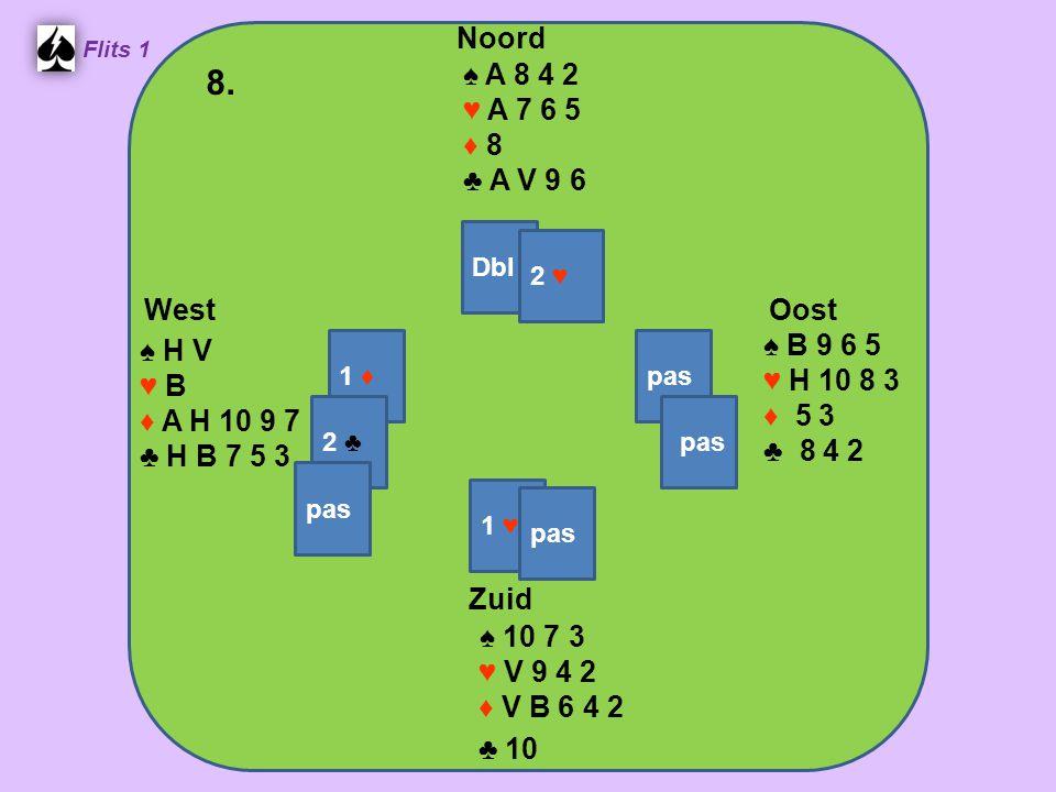Zuid ♠ 10 7 3 ♥ V 9 4 2 ♦ V B 6 4 2 ♣ 10 West ♠ H V ♥ B ♦ A H 10 9 7 ♣ H B 7 5 3 Noord ♠ A 8 4 2 ♥ A 7 6 5 ♦ 8 ♣ A V 9 6 Oost ♠ B 9 6 5 ♥ H 10 8 3 ♦ 5