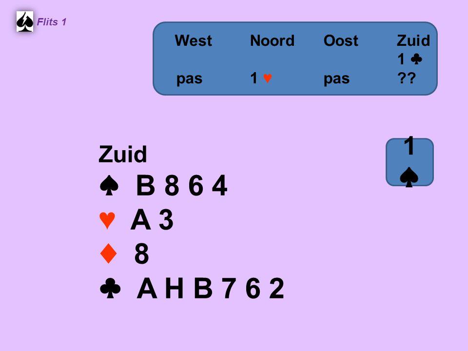 Zuid ♠ B 8 6 4 ♥ A 3 ♦ 8 ♣ A H B 7 6 2 Flits 1 WestNoordOostZuid 1 ♣ pas 1 ♥ pas?? 1♠1♠