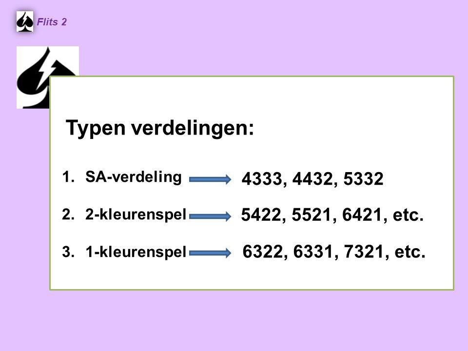 4333, 4432, 5332 Flits 2 1.SA-verdeling 2.2-kleurenspel 3.1-kleurenspel 5422, 5521, 6421, etc. 6322, 6331, 7321, etc. Typen verdelingen: