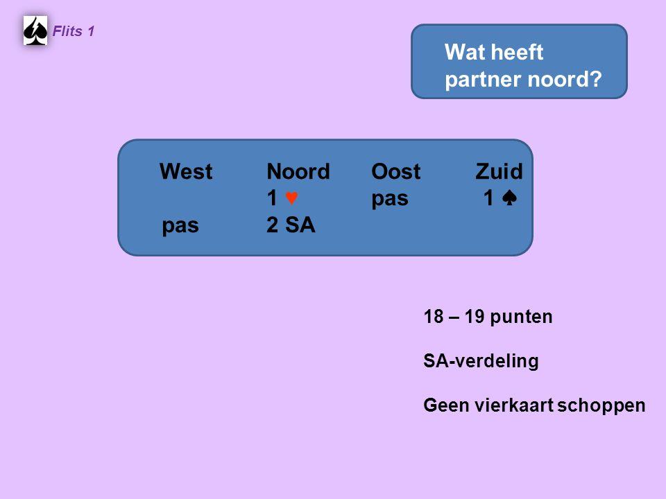 Flits 1 18 – 19 punten SA-verdeling Geen vierkaart schoppen WestNoordOostZuid 1 ♥ pas 1 ♠ pas2 SA Wat heeft partner noord?