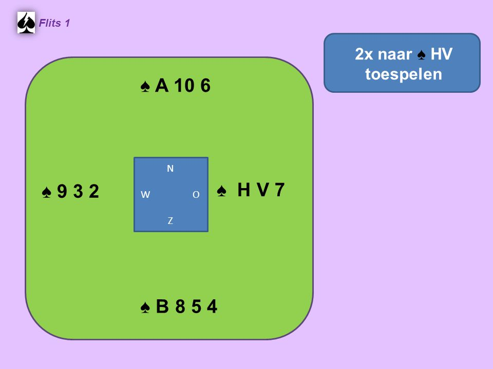 ♠ A 10 6 Flits 1 ♠ H V 7 ♠ B 8 5 4 ♠ 9 3 2 2x naar ♠ HV toespelen N W O Z