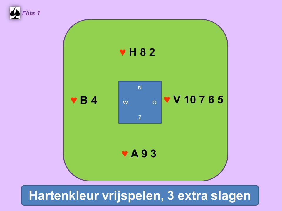♥ H 8 2 Flits 1 ♥ V 10 7 6 5 ♥ A 9 3 ♥ B 4 Hartenkleur vrijspelen, 3 extra slagen N W O Z