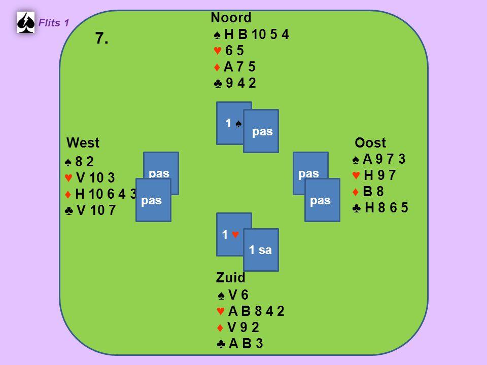 Zuid ♠ V 6 ♥ A B 8 4 2 ♦ V 9 2 ♣ A B 3 West ♠ 8 2 ♥ V 10 3 ♦ H 10 6 4 3 ♣ V 10 7 Noord ♠ H B 10 5 4 ♥ 6 5 ♦ A 7 5 ♣ 9 4 2 Oost ♠ A 9 7 3 ♥ H 9 7 ♦ B 8