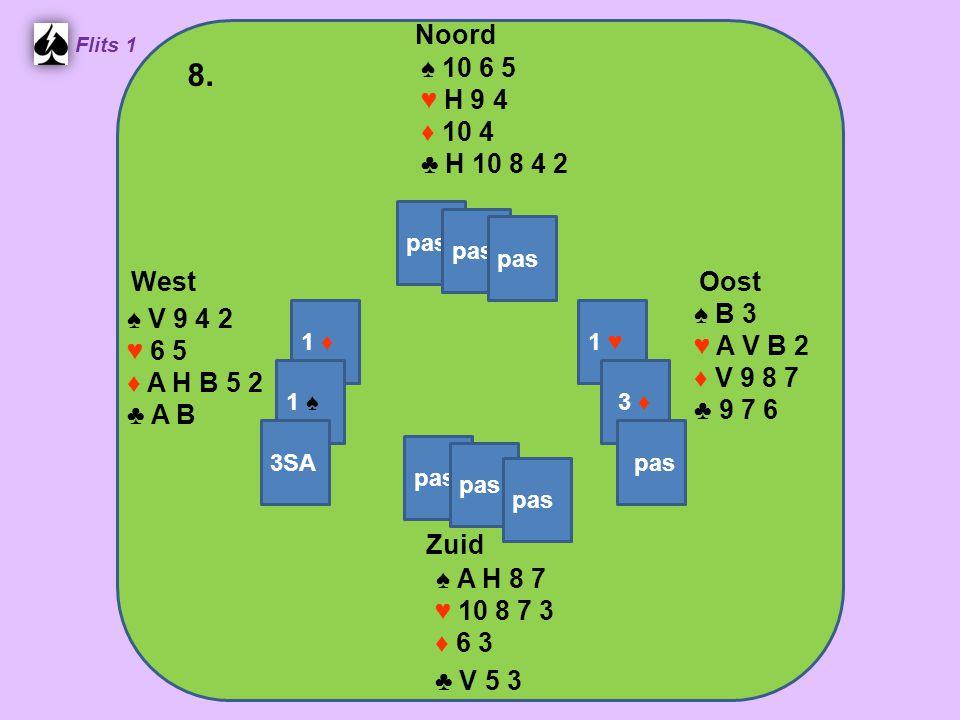 Zuid ♠ A H 8 7 ♥ 10 8 7 3 ♦ 6 3 ♣ V 5 3 West ♠ V 9 4 2 ♥ 6 5 ♦ A H B 5 2 ♣ A B Noord ♠ 10 6 5 ♥ H 9 4 ♦ 10 4 ♣ H 10 8 4 2 Oost ♠ B 3 ♥ A V B 2 ♦ V 9 8