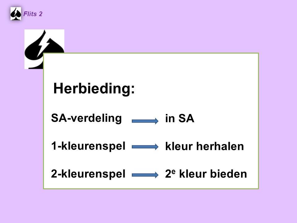 Herbieding: in SA kleur herhalen 2 e kleur bieden Flits 2 SA-verdeling 1-kleurenspel 2-kleurenspel