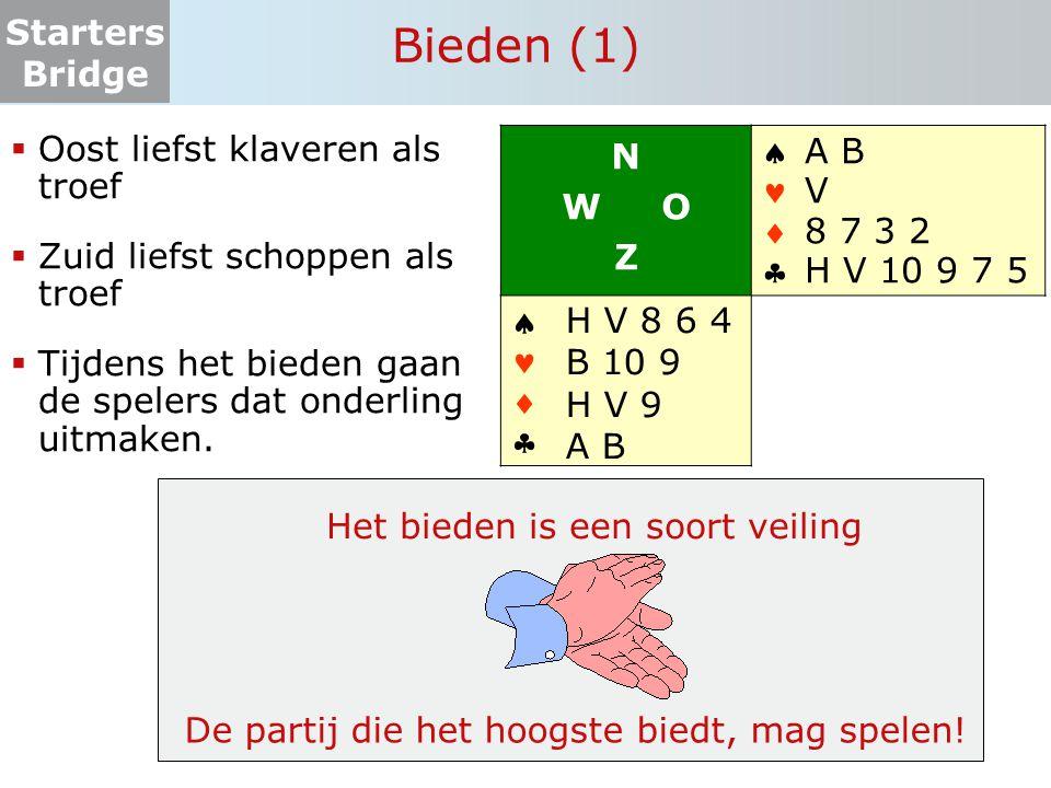 Starters Bridge Zelf aan de slag 3.3  Zuid is leider in SA  West komt uit  Noord is de dummy en legt na de uitkomst zijn kaart op tafel  Zuid zegt wat de dummy moet spelen   ♣ V B T 3 2 H 9 2 A H 6 6 5   ♣ 9 8 5 B 7 5 4 T 9 8 3 V 8 N W O Z   ♣ A 7 4 T 8 6 V 5 2 H B T 7   ♣ H 6 A V 3 B 7 4 A 9 4 3 2  Maximaal haalbare bij goed afspelen:  N-Z: 9/10 slagen  O-W: 4/3 slagen