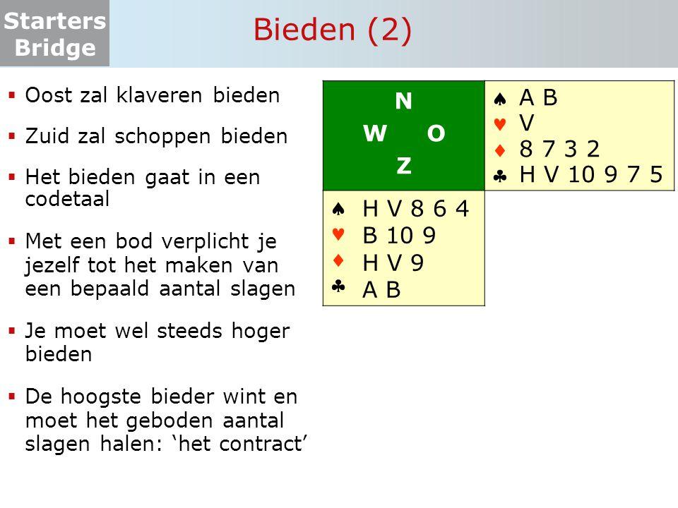 Starters Bridge Bieden (3) Het bieden beslist:  Wat de speelsoort wordt  Hoeveel slagen er gemaakt moeten worden  Welke partij die taak op zich neemt