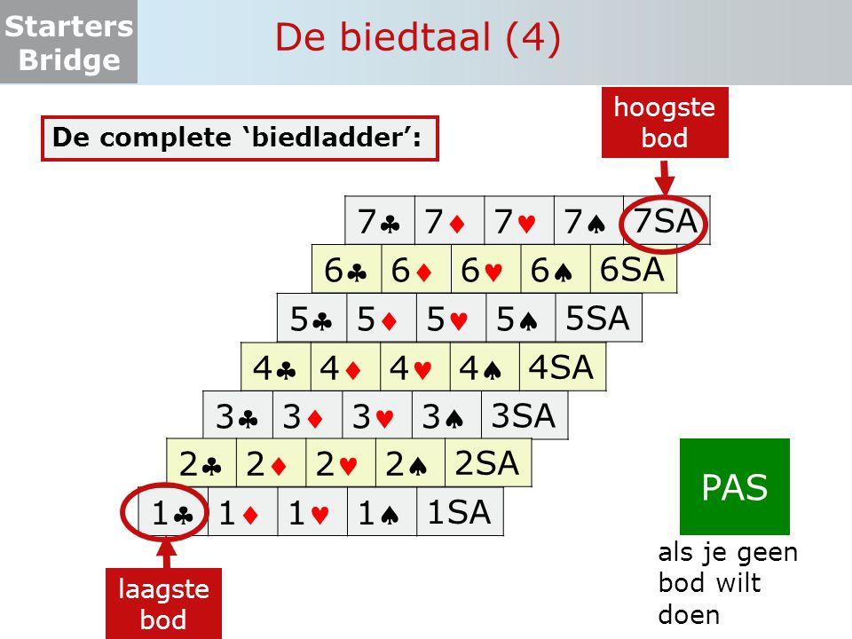 Starters Bridge De biedtaal (samenvattend)  Je kunt kiezen tussen: een bod of passen  Het laagste bod is: 1 klaveren  Als klaveren troef is, denk ik (met mijn partner) 7 slagen te halen: (het bod: '1' + 6 basisslagen).