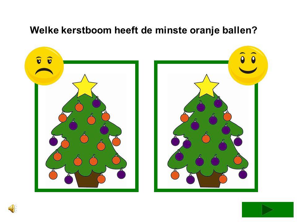 Welke kerstboom heeft de minste paarse ballen?
