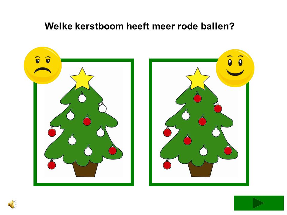Welke kerstboom heeft de minste oranje ballen?