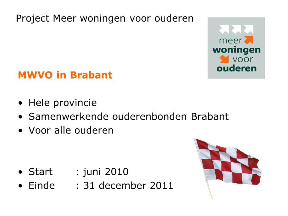 Project Meer woningen voor ouderen MWVO in Brabant Hele provincie Samenwerkende ouderenbonden Brabant Voor alle ouderen Start: juni 2010 Einde: 31 dec